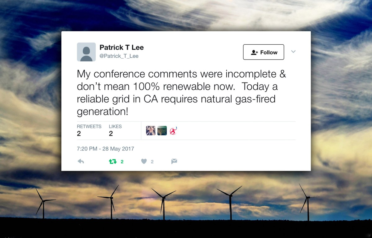 A tweet from the new account of Patrick Lee of Sempra Infrastructure, LLC.