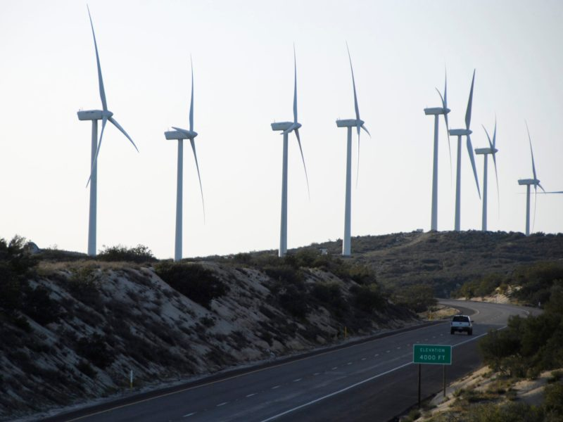 Wind turbines dot the landscape along Interstate 8 in east San Diego County. Michael Schuerman / KPBS