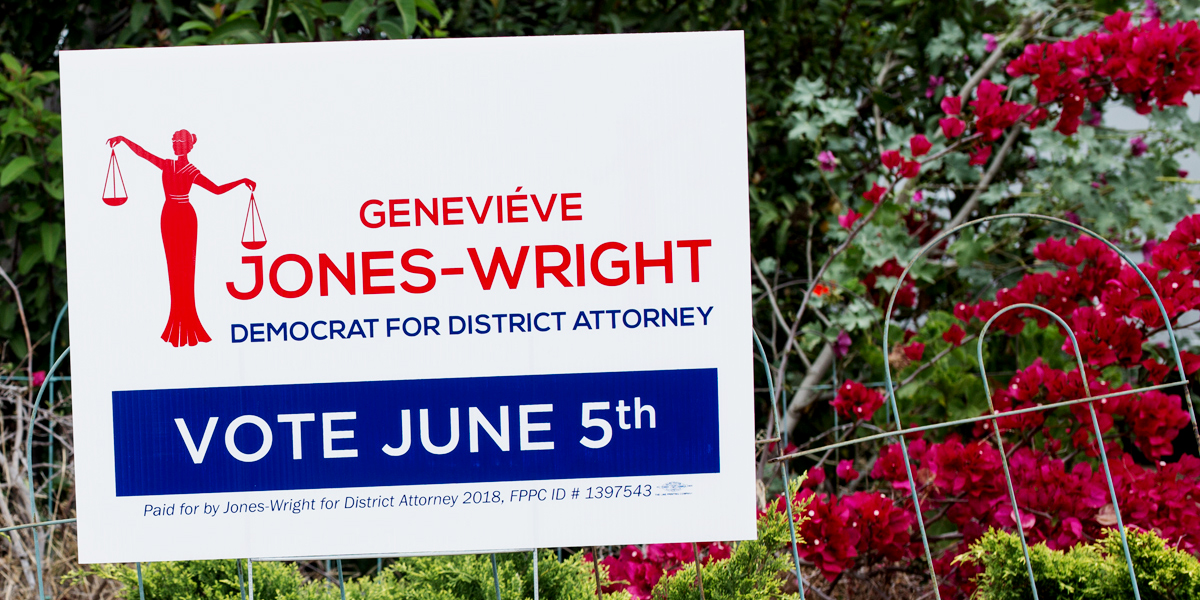 A sign for San Diego County district attorney candidate Geneviéve Jones-Wright in North Park on May 24, 2018.