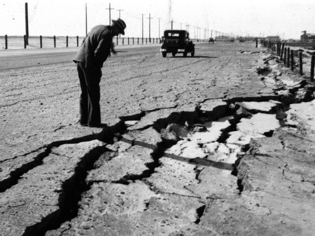 The Long Beach earthquake on March 10, 1933, left gaping cracks in a road between Seal Beach and the Bolsa Chica Gun Club. (Courtesy U.S. Geological Survey)