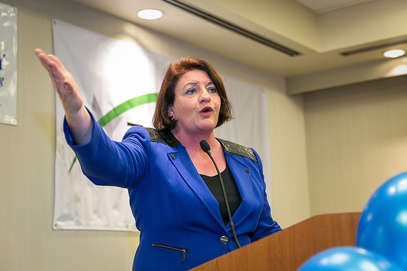 State Senate President Toni Atkins, D-San Diego, is shown speaking on June 7, 2016, at the Westin Hotel in downtown San Diego. (Photo by Nancee Lewis)