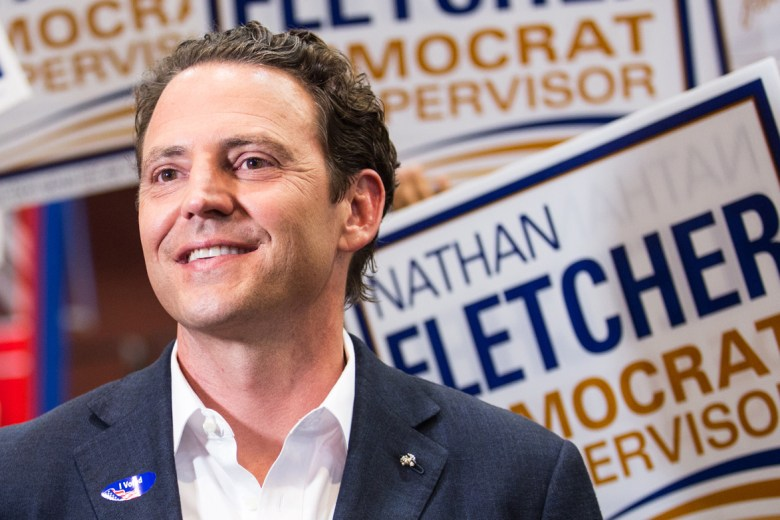 Former state Assemblyman Nathan Fletcher is shown here after the primary election on June 5, 2018, at Golden Hall in San Diego. (Megan Wood/inewsource)