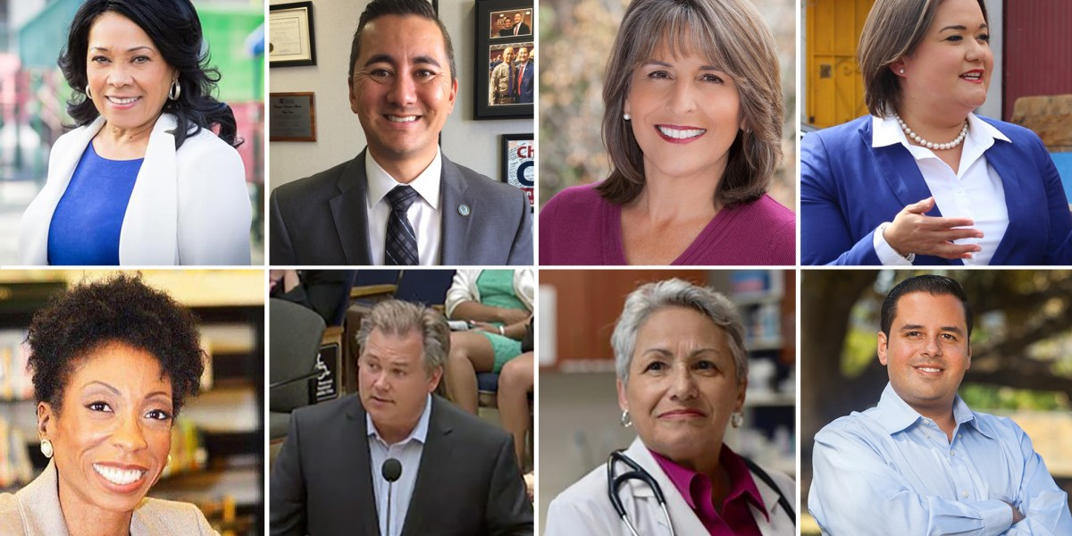 Shown clockwise in undated campaign photos are San Diego City Council candidates Myrtle Cole, Chris Cate, Lorie Zapf, Vivian Moreno, Antonio Martinez, Jen Campbell, Tommy Hough and Monica Montgomery.