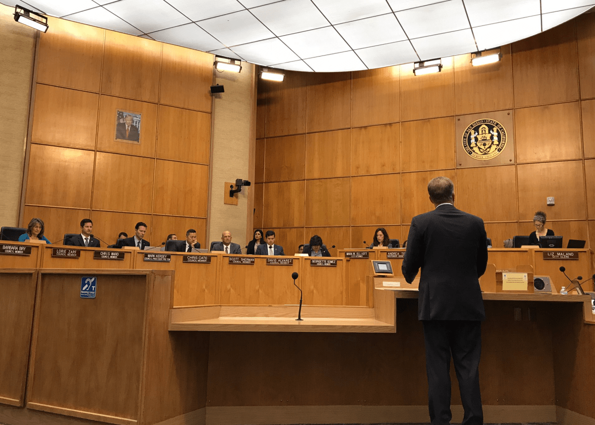 Mayor Kevin Faulconer speaks to the San Diego City Council on June 12, 2017. (Andrew Bowen/KPBS)