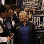Democrat Jennifer Campbell, who won a seat on the San Diego City Council, is shown at Golden Hall on Nov. 6, 2018, in downtown San Diego. (Megan Wood/inewsource)