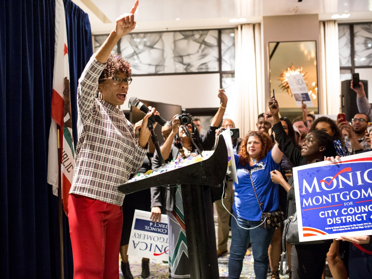 Democrat Monica Montgomery, who was elected to the San Diego City Council, speaks to her supporters at the Hotel Republic in downtown San Diego on Nov. 6, 2018. (Megan Wood/inewsource)