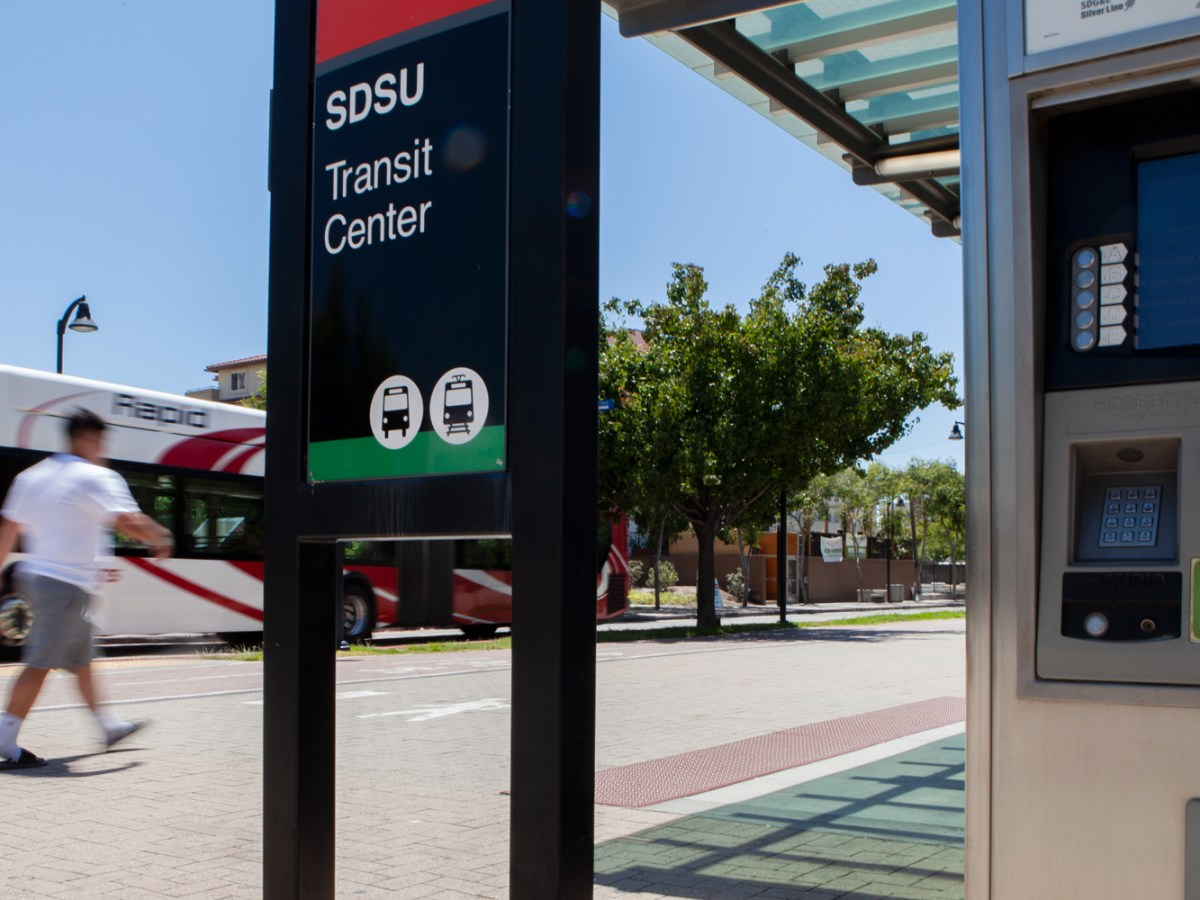 The SDSU Transit Center and one of its fare collection machines is shown on July 9, 2019. Machines like this will be replaced when MTS launches a $34 million fare system in late 2021.