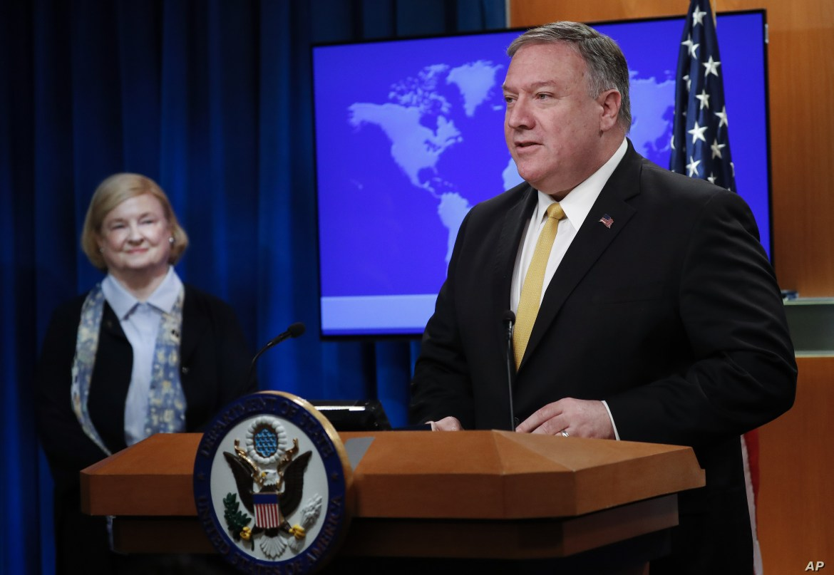 U.S. Secretary of State Mike Pompeo, right, unveils the creation of Commission on Unalienable Rights, headed by Mary Ann Glendon, left, a Harvard Law School professor, during an announcement at the U.S. State Department in Washington, July 8, 2019.