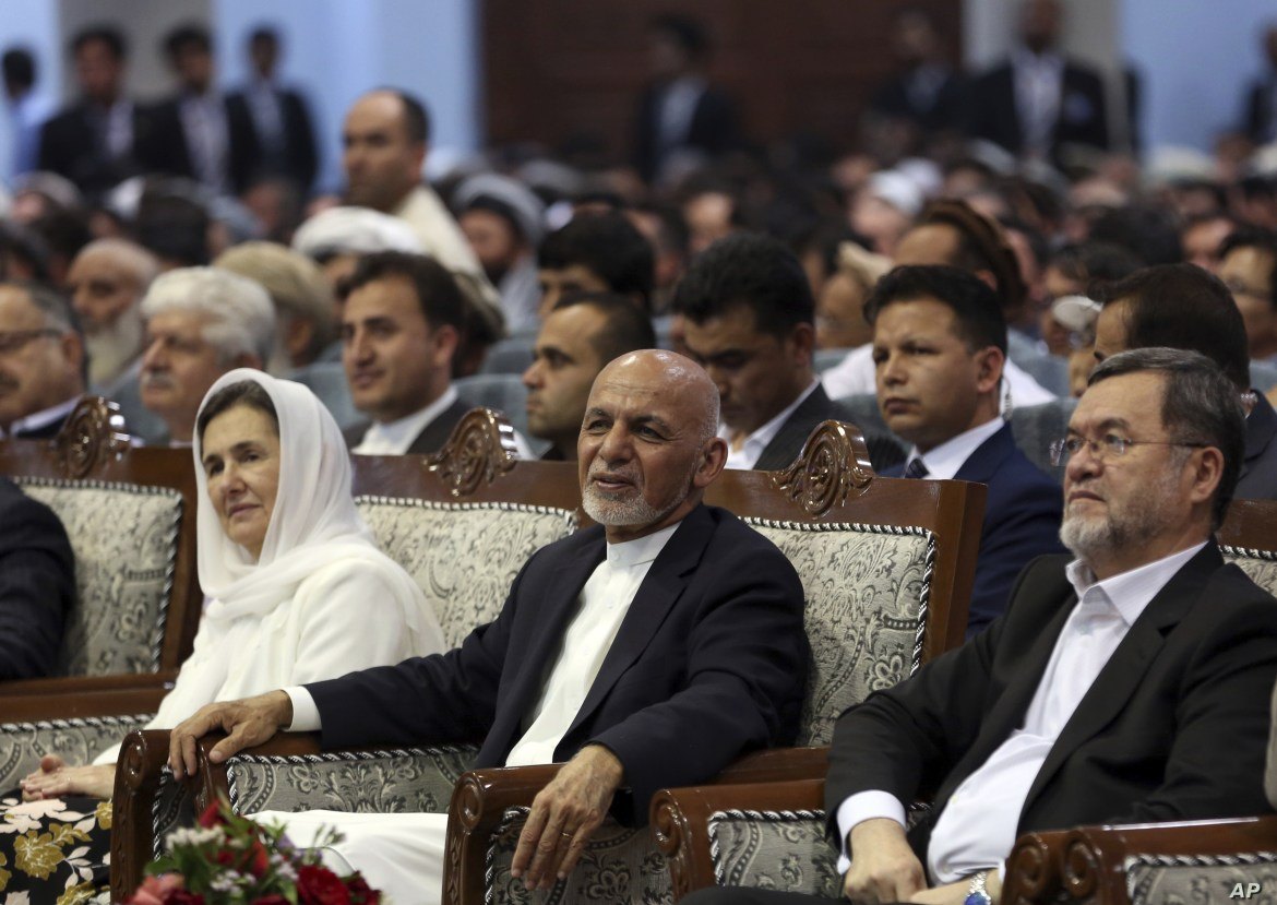 Afghan presidential candidate Ashraf Ghani, center, attends the first day of campaigning in Kabul, Afghanistan, July 28, 2019.