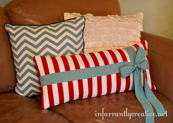 striped lumbar pillow with bow