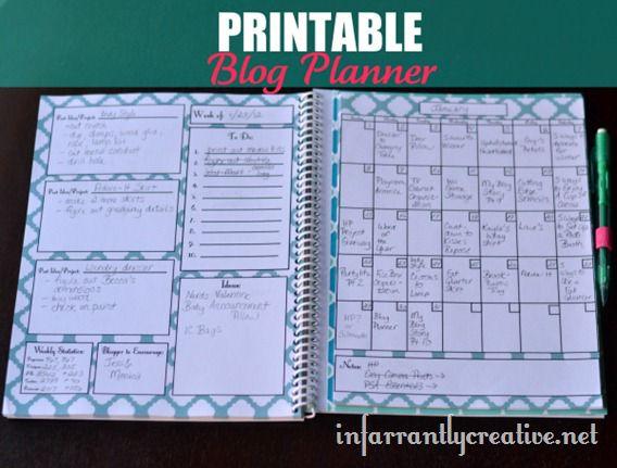 Printable blog planner