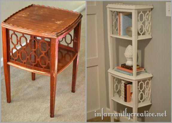 roadkill rescue end table to shelf