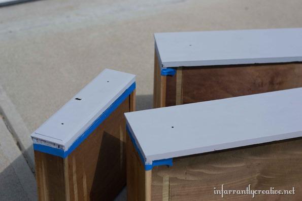 Gray And Aqua Dresser With Milk Glass Knobs