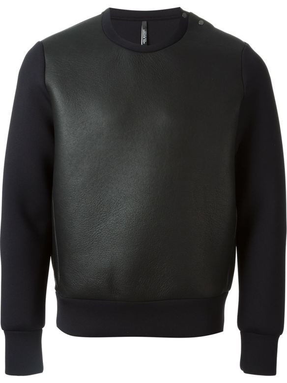 neil barrett leather sweater