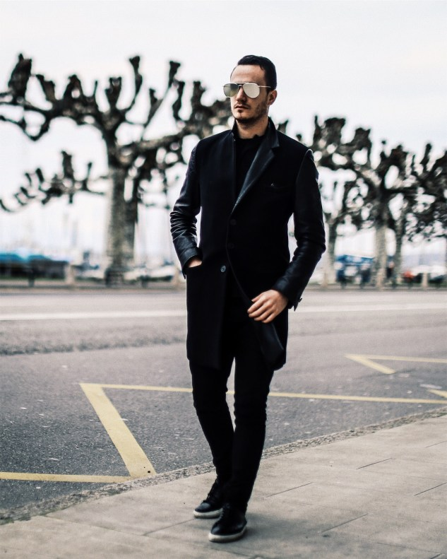 INFASHIONITY MENSWEAR SWISS FASHION BLOG HENRI BALIT ALL BLACK LOOK GENEVA LAKE PHOTOSHOOT
