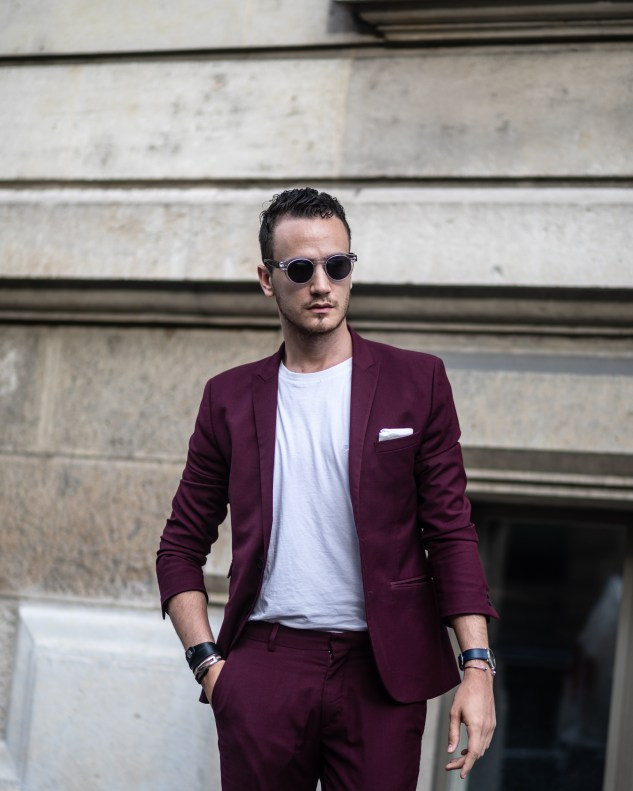 burgundy suit with white sneakers common projects infashionity menswear fashion blog illesteva leonard