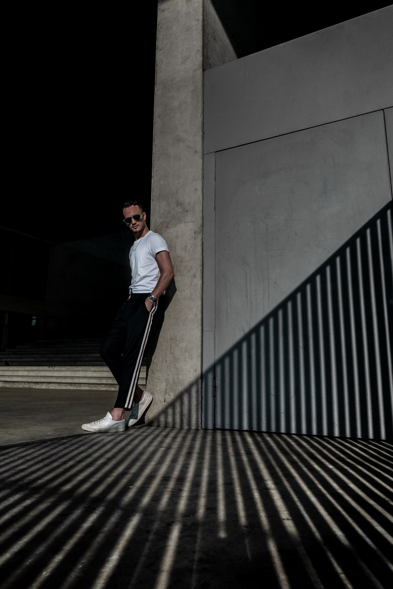 fashion photography shadow play stairs graphic urban architecture fashion men
