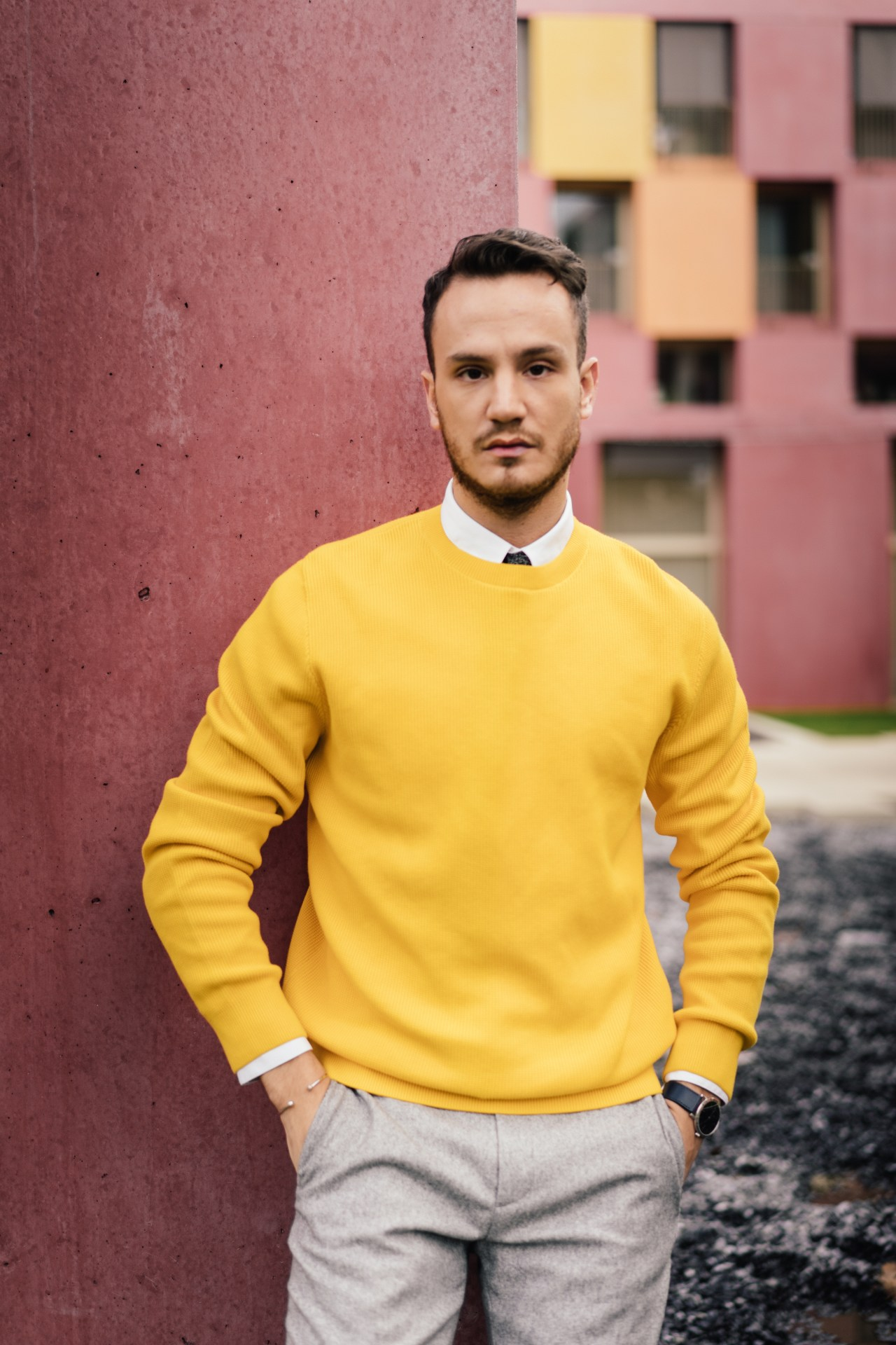 yellow sweater white shirt skinny tie men's fashion blogger cos