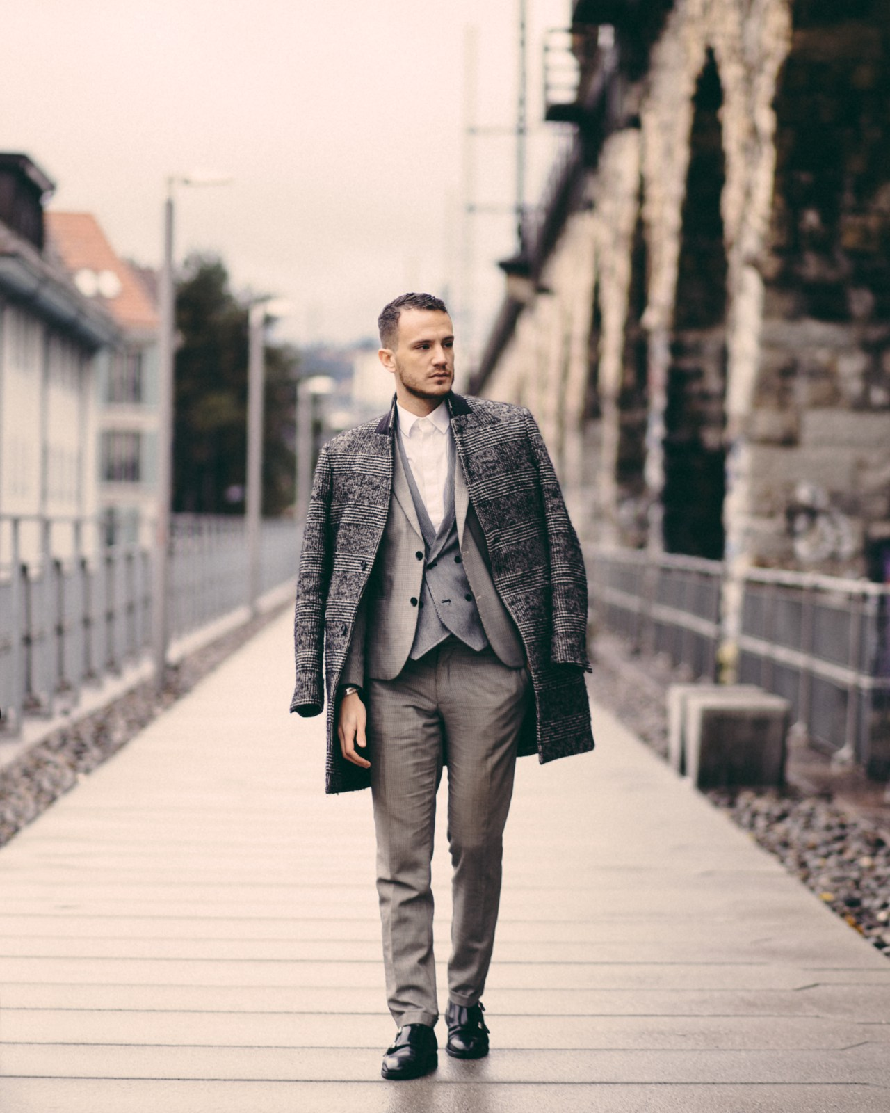zurich viadukt streetstyle winter prince of wales check coat