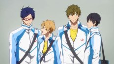 Iwatobi Schwimmclub (v.l.n.r.): Rei, Nagisa, Matoko und Haruka