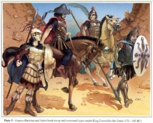 Ricostruzione grafica dell'armamento dei soldati greco-battriani al tempo di Eukratides I 3A Thyreophoros 3B Sarissophorus della guardia reale 3C Guardia reale appiedata 3D Generale indo-greco (Da V. P. Nikonorov)