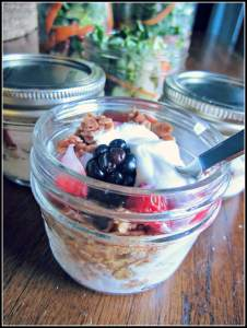 yogurt and fruit in a jar