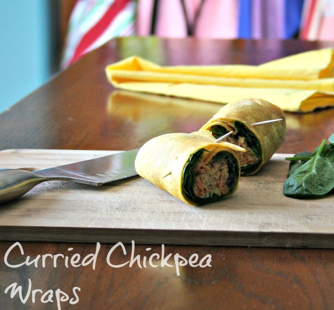 Curried Chickpea Wraps wraps sandwich make-ahead lunch garam masala curry chickpeas