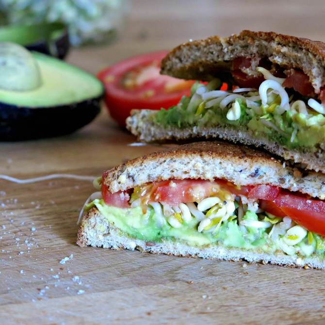 avocado tomato and sprout sandwich
