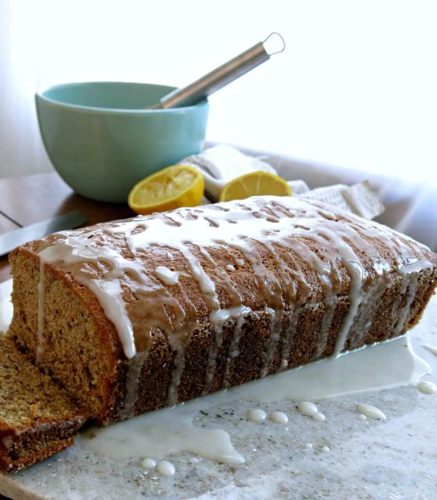 Lemon Flax Bread vegan quick bread lemon glaze flaxseed flax banana