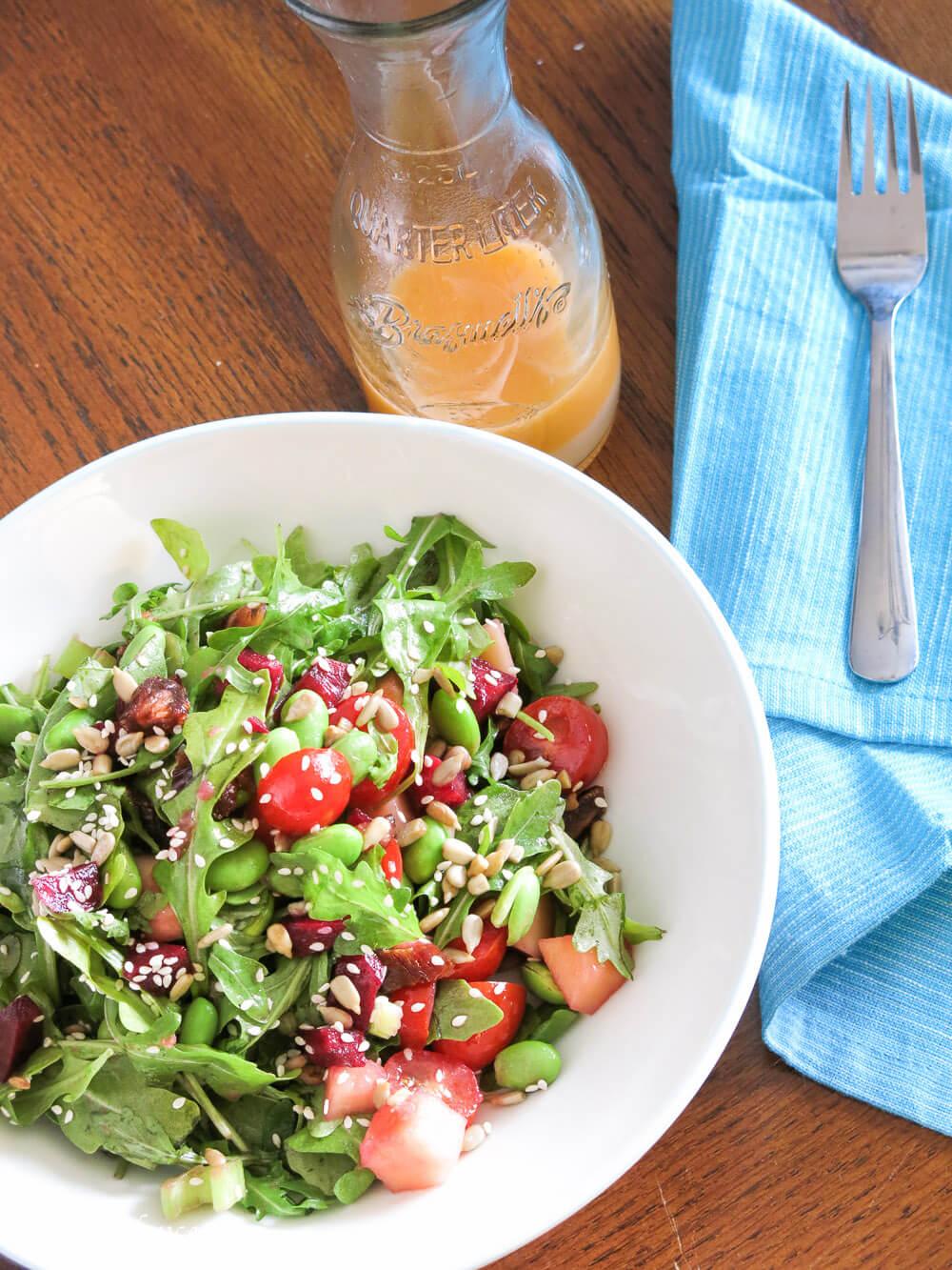 arugula and edamame salad with ruby red vinaigrette | infinebalance.com