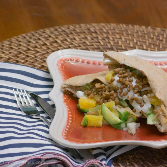 Lentil and Sweet Onion Pitas