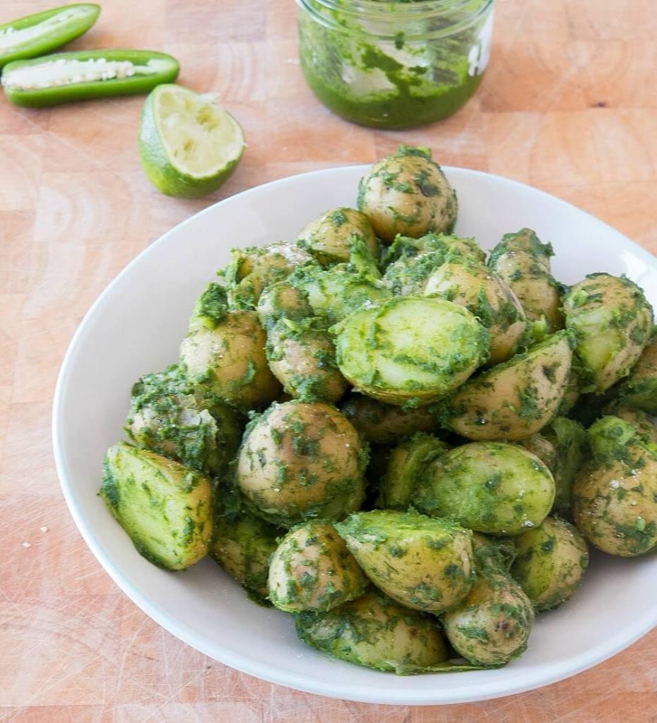 Potatoes in Classic Green Chutney | infinebalance.com #recipe #vegan