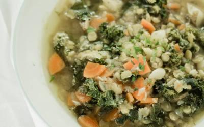 Lemony Split Pea and Kale Soup