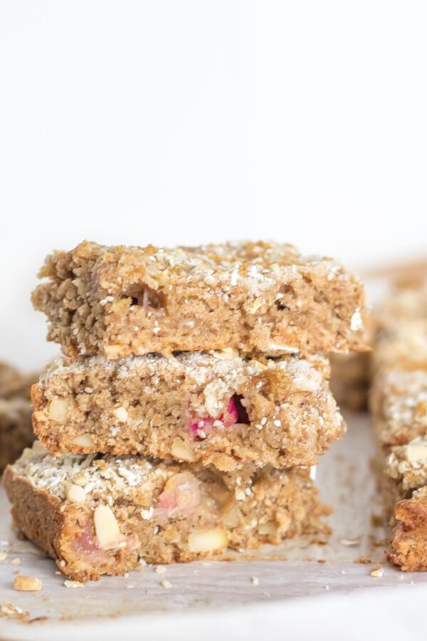 Rhubarb Crumb Bars | infinebalance.com #recipe #vegan