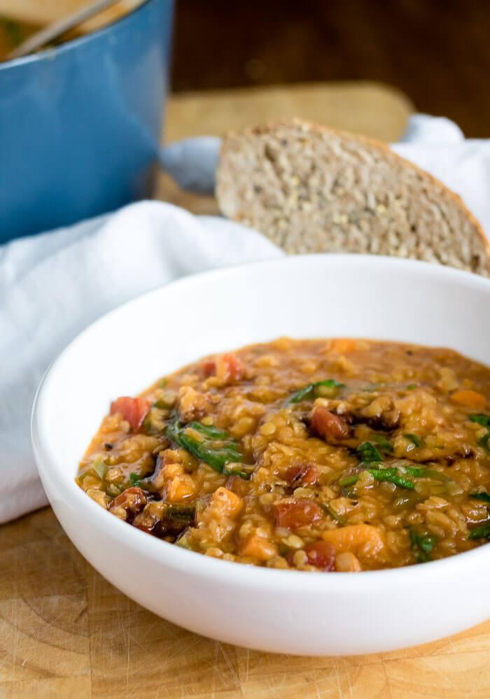 Easy Red Lentil Soup | infinebalance.com #recipe #vegan