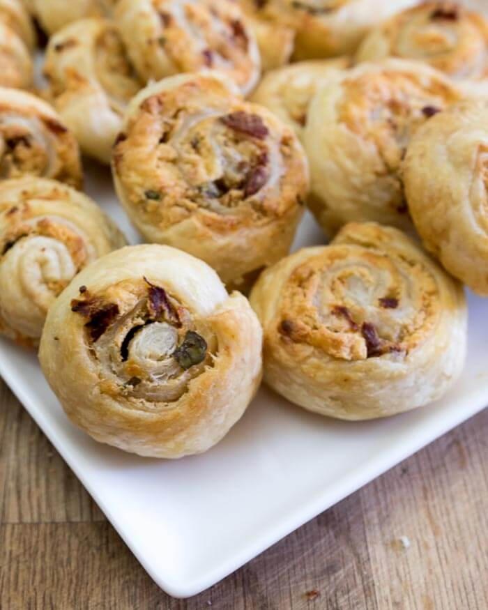Sundried Tomato Cheese Rolls walnuts vegetarian appetizer sundried tomato pastry gouda basil appetizer