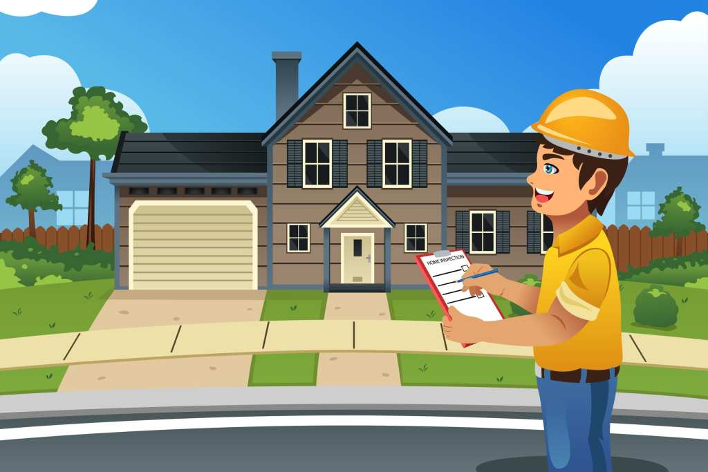 Picture of home inspector standing in front of house inspecting.