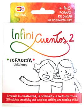 Envase de juego didactico InfiniCuentos 2. Idea e ilustraciones de Lucía Vidal. Hecho en Ciudad Autonoma de Buenos Aires, Argentina