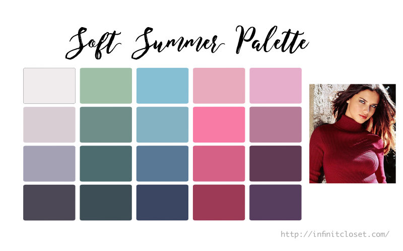 Some colors from the Soft Summer palette