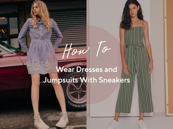 How To Wear Dresses and Jumpsuits With Sneakers