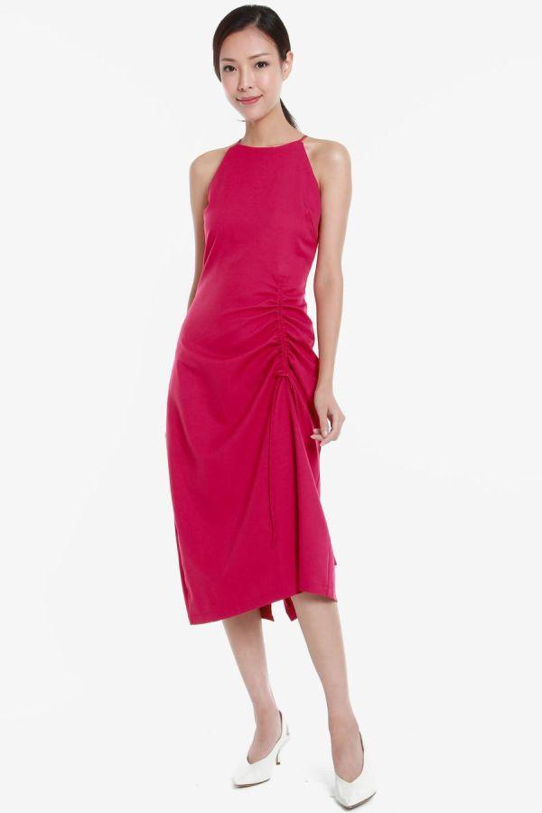 mintooakxstyletheory-Halter-Sleeveless-Ruching-Detail-Dress-Pink-3