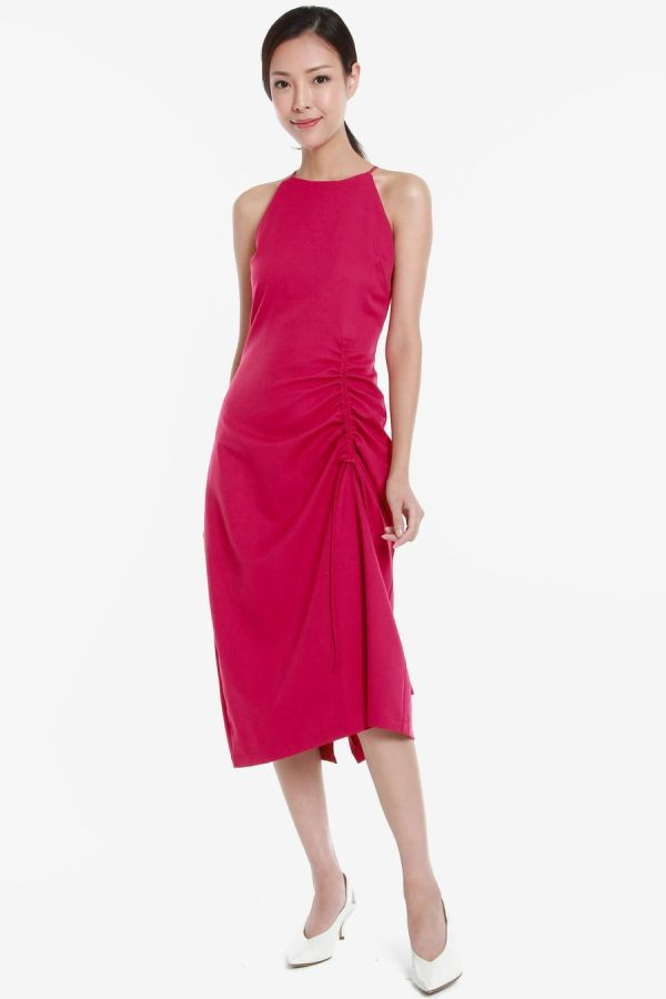 mintooakxstyletheory-Halter-Sleeveless-Ruching-Detail-Dress-Pink-3