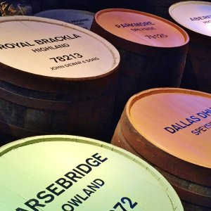 Coloured whisky barrels Scotland