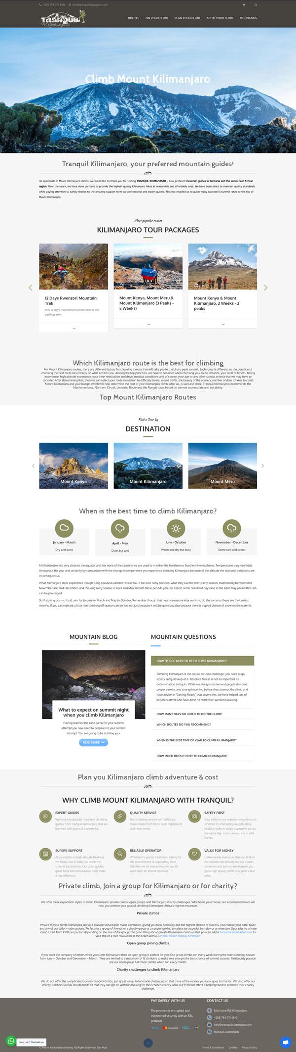 Tranquil Kilimanjaro website