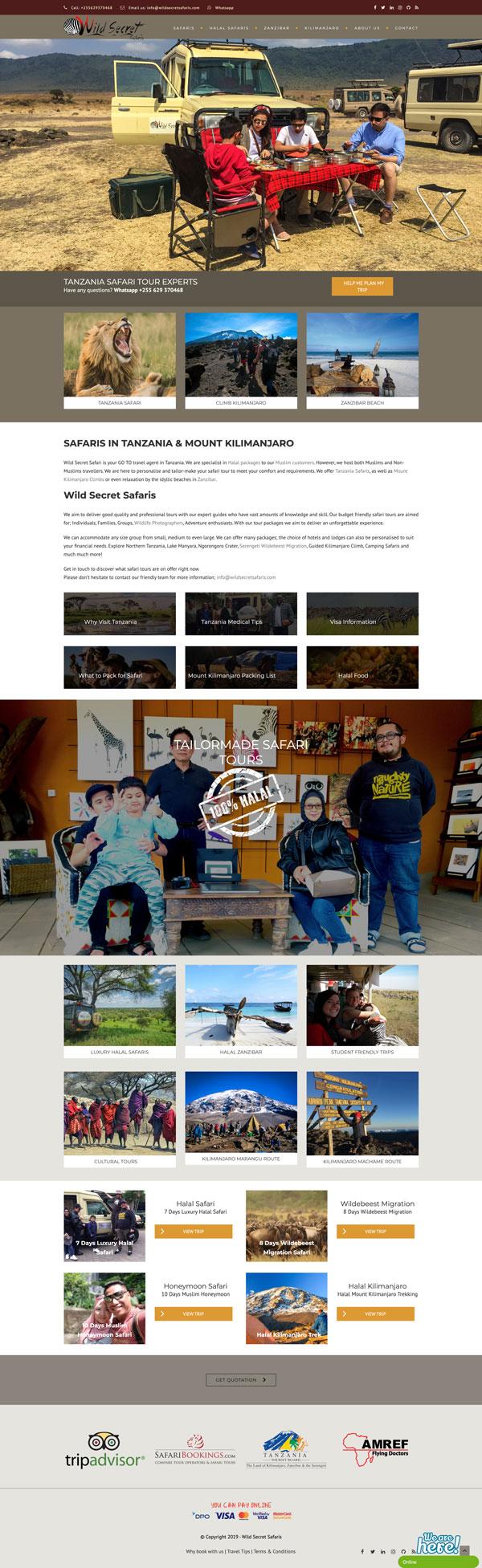 Wild Secret Safaris Website
