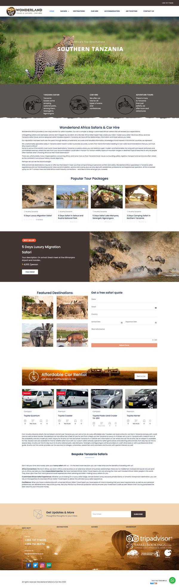 Wonderland Africa website