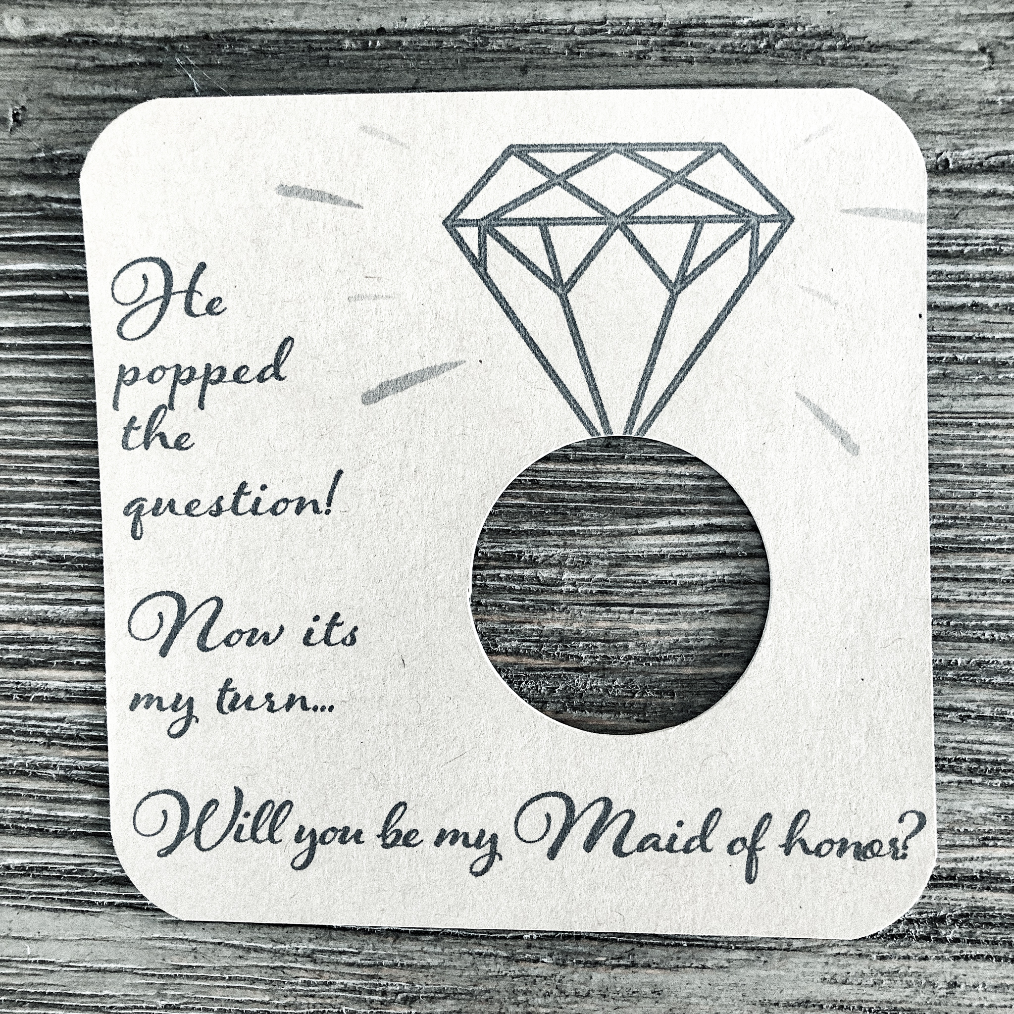 He popped the question! Now its my turn... Will you be my maid of honor? Kraft brown card stock.