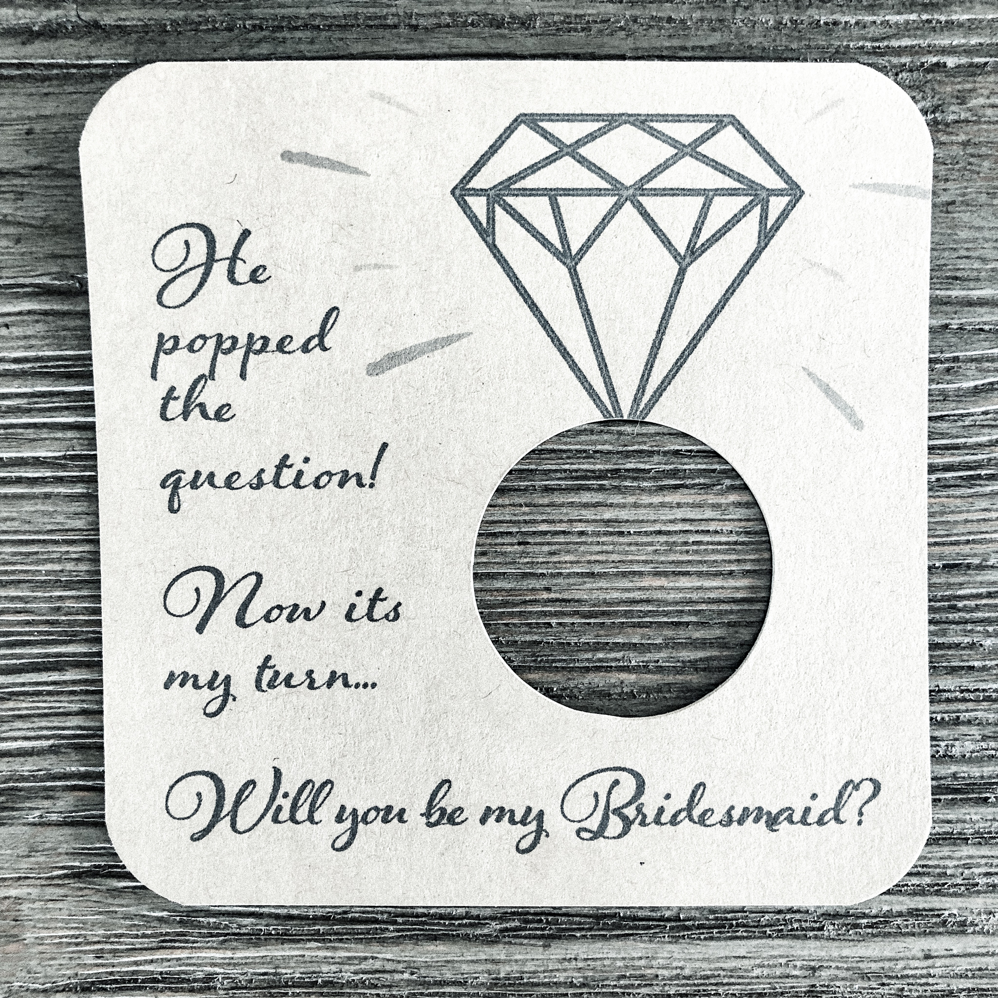 He popped the question! Now its my turn... Will you be my bridesmaid? Kraft brown card stock.
