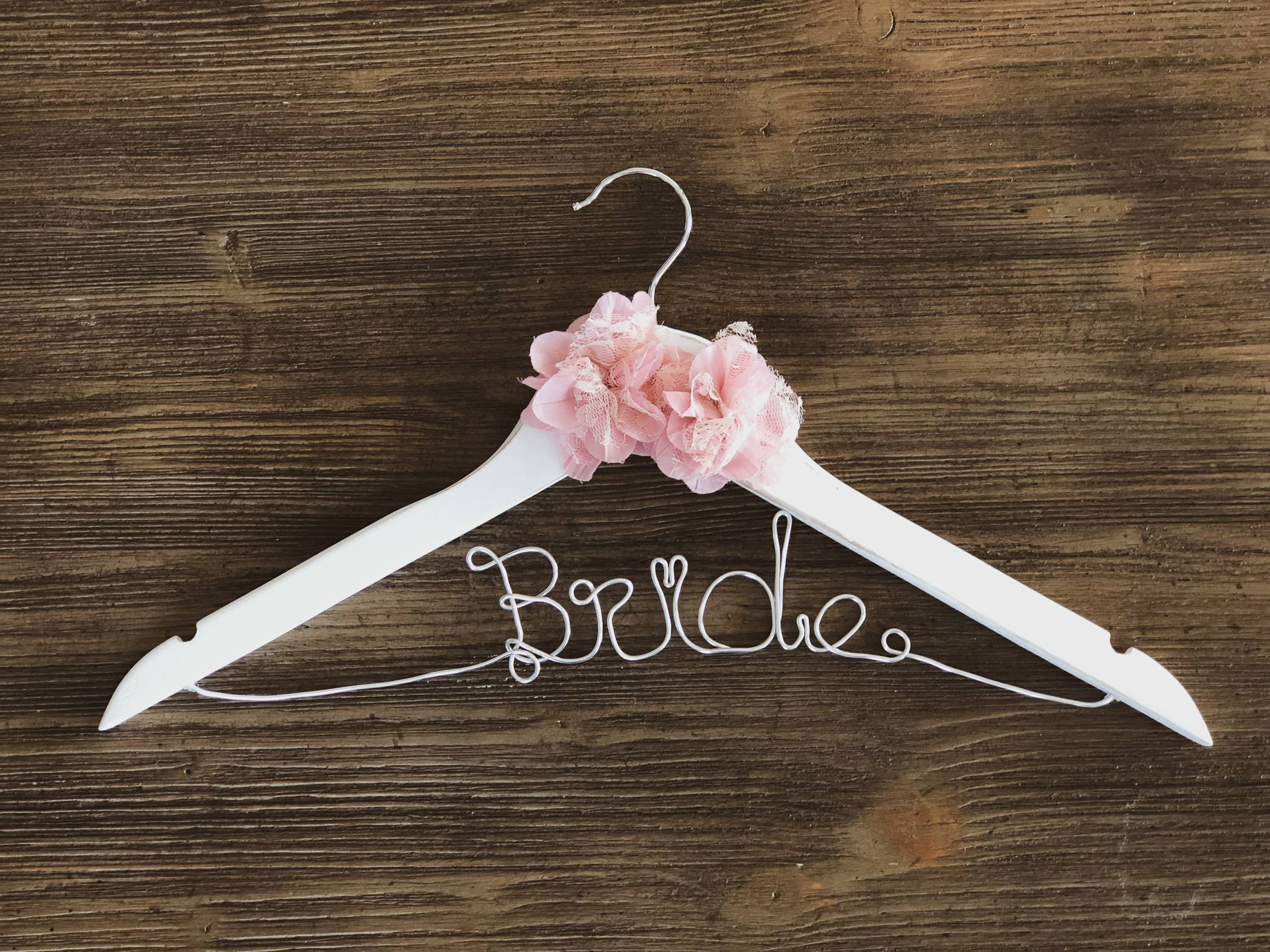 Rustic White Bride Hanger with 2 pink lace flowers and Silver Wire
