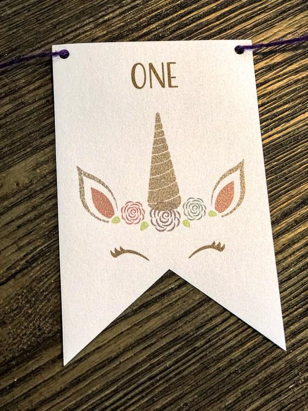 Unicorn First Birthday Milestones Photo Banner